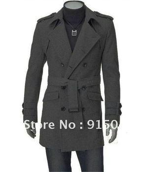 Mens Slim Fit UK Style Double pea Belt Coat long Jacket Overcoat