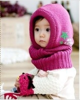 Free shipping Autumn & winter baby one piece cap child hat scarf twinset male female kids knitted hat