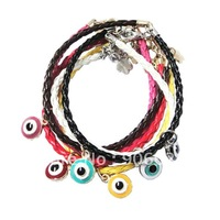 Free Shipping Wholesale 7-color 15pcs/lot vintage lucky hamsa palm hamsa weave charm bracelet Evil Eye jewelry Christmas Gift