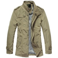 2013 temperament cotton long male british style medium-long trench outerwear color black khaki and light khaki SIZE:M L XL XXL
