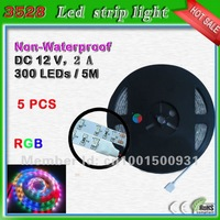 SMD3528 300 leds 5 meter RGB color changing strip lighting free shipping_60 leds/m common anode rgb led
