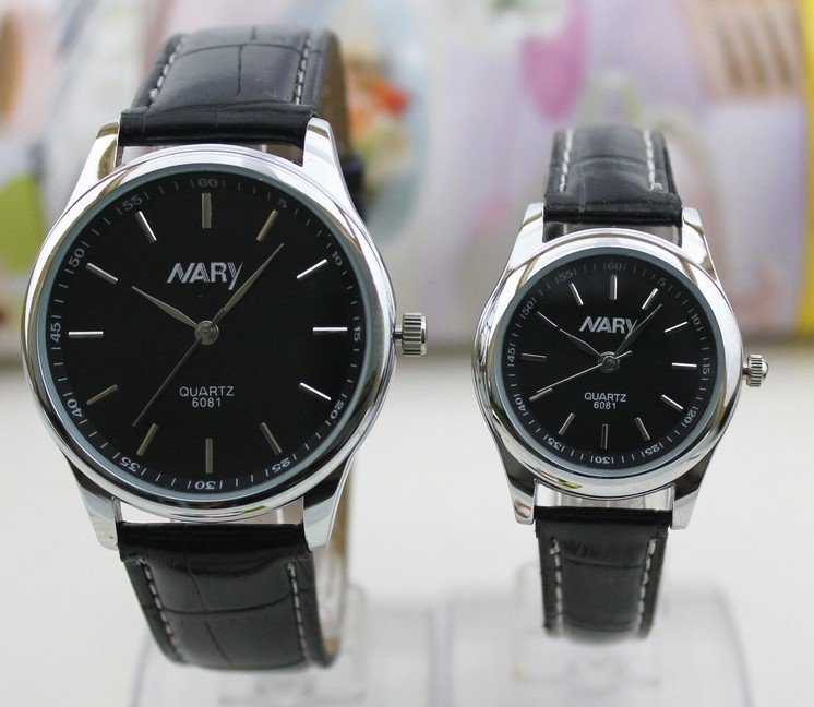 100pc/bag Lovers fashion leisure sports watch stainless steel automatic leather watch black and white collocation free shipping(China (Mainland))