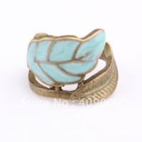 free shipping + popular vintage personality caiyou glaze leaves the ring finger ring