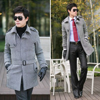 2013 double breasted slim men epaulette front fly single breasted long design trench long coat Size:M  L XL XXL