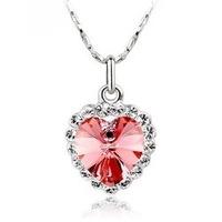 10pcs Free shipping ,Irritably paragraph - heart crystal love necklace with Pendants,The heart of ocean pendants.