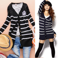 Fashion preppystyle navy stripe embroidery badge long design v-neck short sleeve T-shirt , medium-long sweater