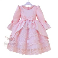 new 2013 hot selling girls casual dresses princess girl dress long sleeve evening party dress pink+white color  free shipping