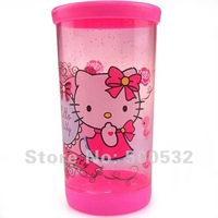 Free shipping 15 pcs/lot, Hello Kitty water cups with cover Cartoon plastic cup kids water bottle Office cup 300ml , hot sale
