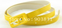 Free shipping hot sell 2012 fashion narrow pu belt candy color pu
