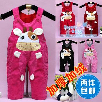 Plus velvet winter baby bib pants child dual lines, bib pants corduroy thickening bib pants nn-01