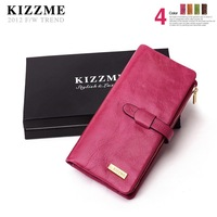 free shipping Kizzme excellent women's long design wax cowhide wallet multi card holder wallet