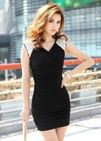 Free shipping 3222 luxury rhinestone slim waist slim hip long-sleeve dress  Casual look thin fair maiden outfit long women