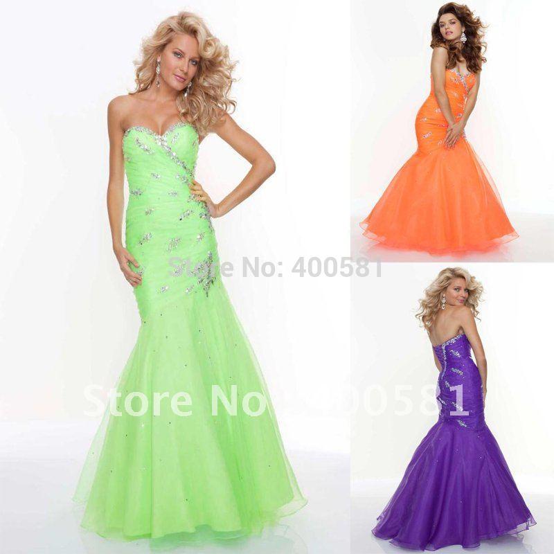 Bright Orange Mermaid Prom Dresses Ruching Bright Orange
