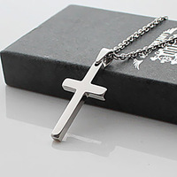 Free Shipping Fall in love pure silver cross titanium male necklace pendant accessories