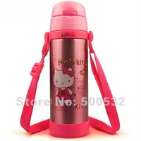 Hello Kitty insulated water bottle straw double wall steel thermoses stainless steel vacuum flasks 450ml,Free shipping 3 pcs/lot