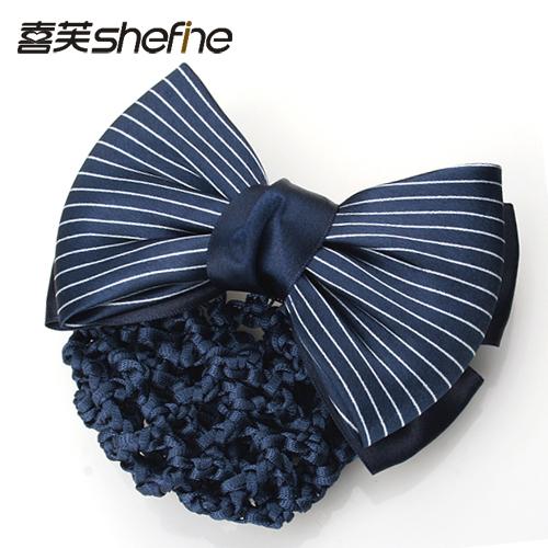 Free Shipping Hair accessory - plain stripe bow clip hairpin horsetail clip(China (Mainland))