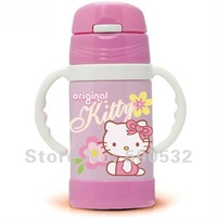Freeshipping 5 pcs/lot, Hello Kitty Double vacuum flask kids water bottle with straw insulated stainless steel thermoses XMAS