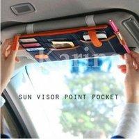 Free shipping Wholesale NEW MP3 Phone Storage Multi Organizer Bag, Sun Visor Point Pocket for Car