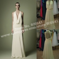 100% Real Photo 1920s Style Dark Ivory Crepe De Chine Dress With Panelled Plunge Neckline Wedding Dress AWD12110108