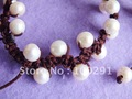 Free shipping!!!10pcs/lot 9-10mm White Freshwater Pearl Bracelet Coffee Brown Rope