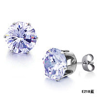 Fashion accessories 2012 tianlan sparkling rhinestone titanium stud earring n218 blue