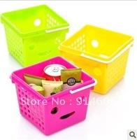 Portable portable smiling face desktop receive basket debris basket storage basket D298