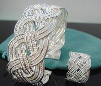 wholesale 925 SILVER CHARM INTERTEXTE RING & BRACELET Set Free shipping