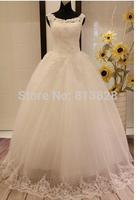 Vestido de noiva Bride Wedding Dress Lace Embroidered Beading Vintage Sweet Straps yarn puff Wedding dress 2014 Wedding gowns