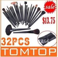 32 pcs set Makeup Brush Kit Makeup Brushes + Black Leather Case, Free Shipping 1pcs/lot from Walmart