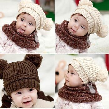 New Baby Love Dual Ball Girls Boys Wool Knit Sweater Cap Hat  [23357|99|01]