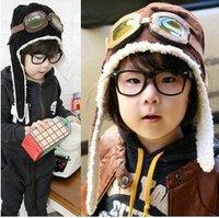 50pcs/lot children hats boys flight caps kids winter hats earflap Cap Beanie Pilot Winter baby earflap pilot cap