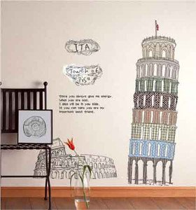 Italy The Leaning Tower of Pisa Decor Decal vinvy Art PVC Wall Sticker Removable(China (Mainland))