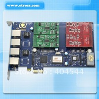 Free shipping four ports Asterisk PCI-E Telephony VOIP card with 4 FXO/FXS