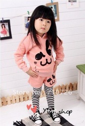 5sets/lot, Free shipping,Size(100-140), The Lovely cat sweat with stripe pants, Cute pink children set,cotton, comfortable wear(China (Mainland))
