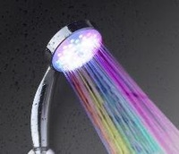 Free Shipping 50ps/lot Multiple Color 7 colors Automatic Jump Changing Water Flow Showerhead Bath LED Handle