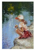 "original painting ""GIRL NEAR THE RIVER"""
