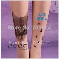 5pcs/Lot Hot Sexy Gril's Women's Tattoo Print Pantyhose /Tights Sheer Stockings Filar Tights