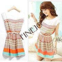 2013 summer New Colorful Stripes Chiffon Dress Free Bowknot Belt Women's Dresses free shipping 2691