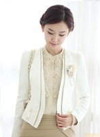 2014 New Fashion Formal Women Blazer OL Office Ladies Career Business Clothing Suit Black White Free shipping