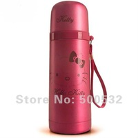 350ml free shipping, Hello Kitty vacuum cup Double wall steel thermoses kids water bottle Cute kettle Christmas gifts 5 pcs/lot