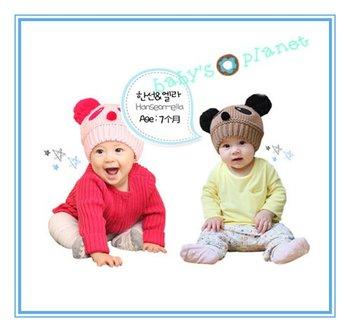 2015 brand new freeshipping wool winter cap cartonn baby hats baby headwear warm PANDA cap ear hat 10pcs/lot