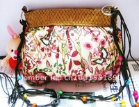 bohemian wine-red butterfly straw plaited lady purse shoulder bag sand beach bag