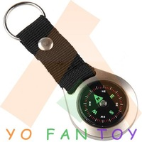 Free Shipping Mini Pocket Compass Keychain Style Metal Casing Round Liquid Navigation Compass