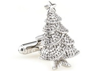 Christmas Tree Shop Men's Jewelry Cufflinks Stainless Steel Metal Cufflink Christmas Eve Cuff links Ornament Christmas Gift