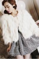 Женская одежда из меха 2012 hat short design Hooded Faux fur coat 121009#12