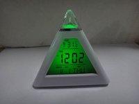 Retail 1pcs Glowing 7 Color LED Change Pyramid Digital Alarm Clock  Date temperature
