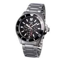 CASIO Men 200-meter Water Resistance Multiple Dials Rotary Bezel Stainless Steel  Watch  MDV-303D-1A1