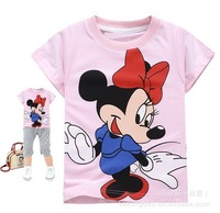 Free shipping, Hot summer Wholesale 6 PCS100% cotton Minnie bow  beauty short sleeve T-shirt (6pcs/lot)/Children T-shirt