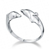 Popular jewelry , 925 pure silver platinum dolphins open ring Size fits all