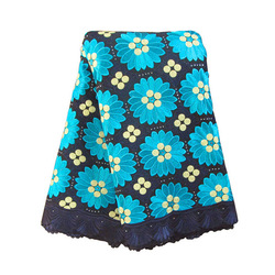 High Quality Swiss voile lace EA048 Navy Blue + Turquoise, Free Shipping(5 yards/pack), 100%cotton African lace(China (Mainland))